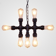 Vintage retro Loft industrial Iron water Pipe steam punk pendant lamp E27 led 7 lights pendant lights for bedroom living room