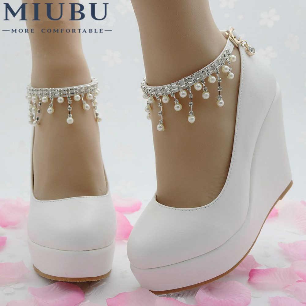 MIUBU Elegant Heels Wedges Shoes Pumps For Women Wedges High Heels Platform Wedges  Shoes White Wedges 91fd05bc66cb