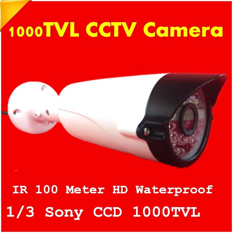 1/3 1000TVL Waterproof Outdoor Security Camera Surveillance IR 100 meter CCTV Camera SONY CCD HD Free shipping<br>