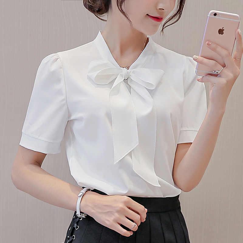 a9bc55c5d51a7 Estilo coreano de manga corta Blusa de gasa Arco-Nudo de colores sólidos  señoras camisas