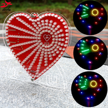 zirrfa New green heart shaped diy kit lights cubeed gift LED Music Spectrum,led electronic diy kit