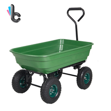 Heavy-Duty Garden Dump Cart Wagon Carrier Wheel with Steel Frame and Handle,550-Pound Capacity, Green(China)