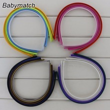 Babymatch 40pcs/lot 7mm Children Colored Satin Covered Resin Hair bands Ribbon Covered Adult Kids Headband Hair Accessories