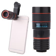 Universal Clip 8X 12X Zoom Phone Portable Telescope Lens Telephoto External Smartphone Camera Lens For iPhone Sumsung HTC Huawei