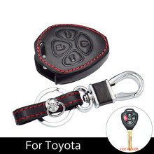 ATOBABI Genuine Leather Car Key Keychain Fob Case Fit for Toyota Camry Avalon Corolla Matrix Rav4 Venza Yaris 4 Buttons keys(China)