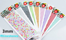 910pcs/lot 3mm colour Crystal 3D Car Stickers Sticker Diamond Decoration Rhinestones Silver Flatback Rhinestones Glitter Gems