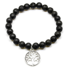 Life Tree Beads Bracelets For Women Natural Lava Bead With Tree of Life Charm Bracelets Hand Chain  Men Jewelry,Yoga Gift