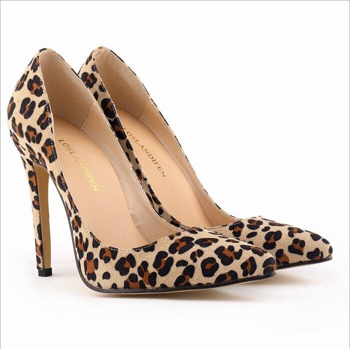 Fashion 2017 Women High Heels Stilettos Pointed Toe Women Pumps Leopard Sexy Ladies Party Wedding Dress Shoes 11cm<br><br>Aliexpress