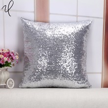 40*40CM Sequins Glitter solid Satin silver Cushion Cover Sofa Bed Car Home Decor Cotton Throw Pillow Case(China)