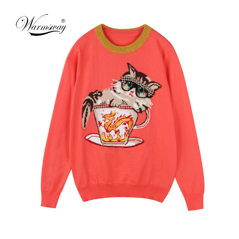Harajuku Original Women Sweater Warm Cat Jacquard High Quality Winter Sweaters Female Casual Pullover Knitted Tops C-194