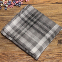 "Grey Plaid 60S Men's 100% Cotton Handkerchiefs 46x46cm / Man Large 18x18"" Yarn Dyed Double Layer Hankies with Gift Packing"