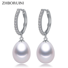 ZHBORUINI 2017 Pearl Earrings Genuine Natural Freshwater Pearl 925 Sterling Silver Earrings Pearl Jewelry For Wemon Wedding Gift(China)