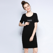5xl women cotton brief dresses for summer plus size women brand fashion letter print black knee length dresses extra large