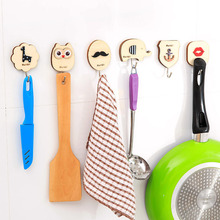 Creative cute cartoon wooden back door hook trace sticky hooks strong load-bearing walls viscose perspective KT0787