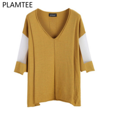 PLAMTEE 5 Solid Color Mesh Patchwork Knitted Sweater 3/4 Sleeve Oversized Knitwear Pullover Women Casual V-Neck Jumper Clothing