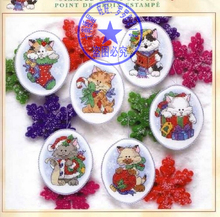 Top Quality Lovely Counted Cross Stitch Kit Kitten Cat Ornament Christmas Tree Ornaments 6 pieces Dim 08687(China)