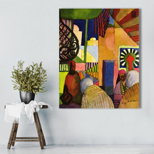 HDARTISAN Expressionism Canvas Art August Macke The Outside Landscape Modern Wall Pictures For Living Room Home Decor(China)