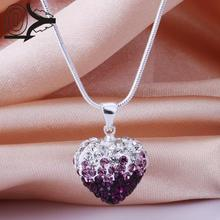 New Style!!Handmade Disco Ball Beads Cute Gift,Crystal Shamballa Necklace,Classic Gradient Heart-shaped Czech Necklaces
