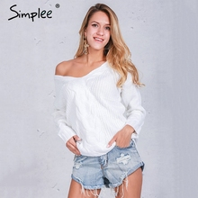 Simplee Winter white knitted sweater women 2016 Autumn hollow out pullover sweater Sexy long sleeve off shoulder sweater jumpers(China)