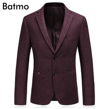 Batmo 2017 new arrival High quality wool wine red blazer men,casual suit men,men's Business blazer,plus-size 5827