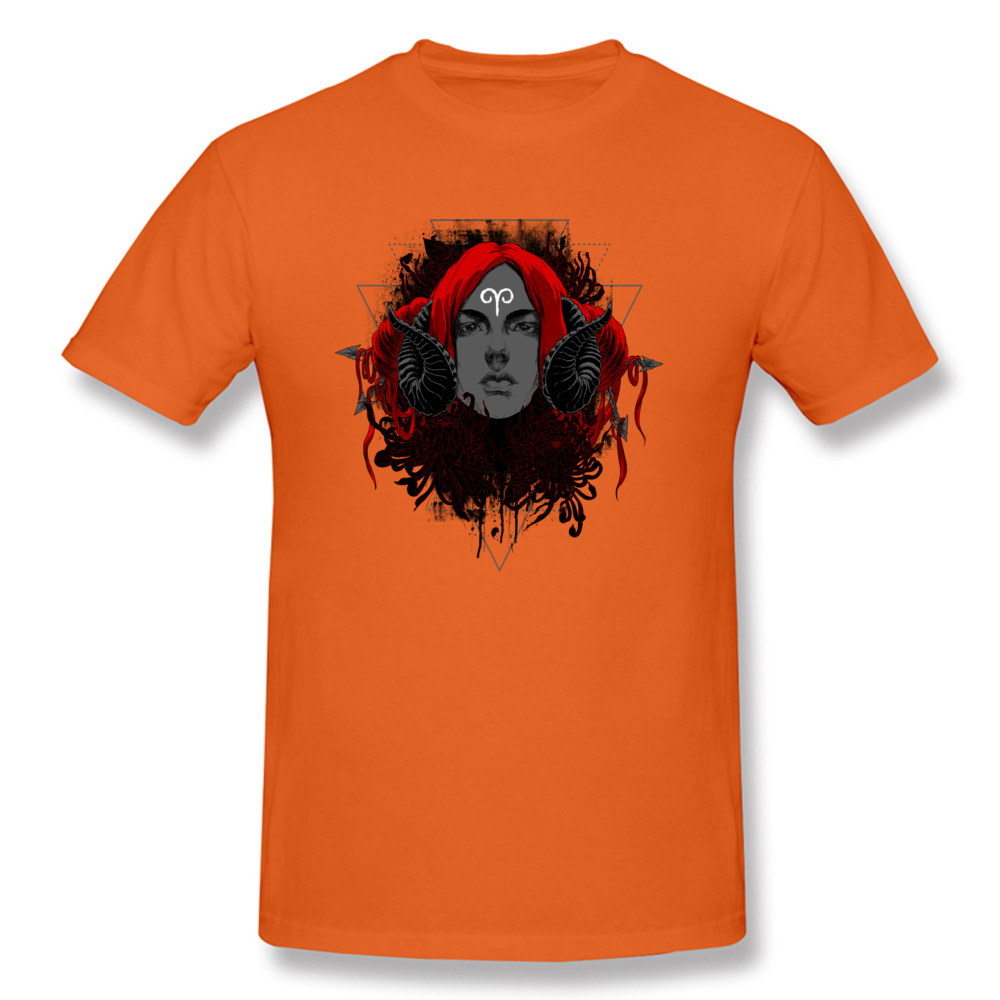 Printed On3D Printed Short Sleeve Tops T Shirt ostern Day Fitted Crew Neck All Cotton Tops & Tees Mens T-shirts Aries  Aries orange
