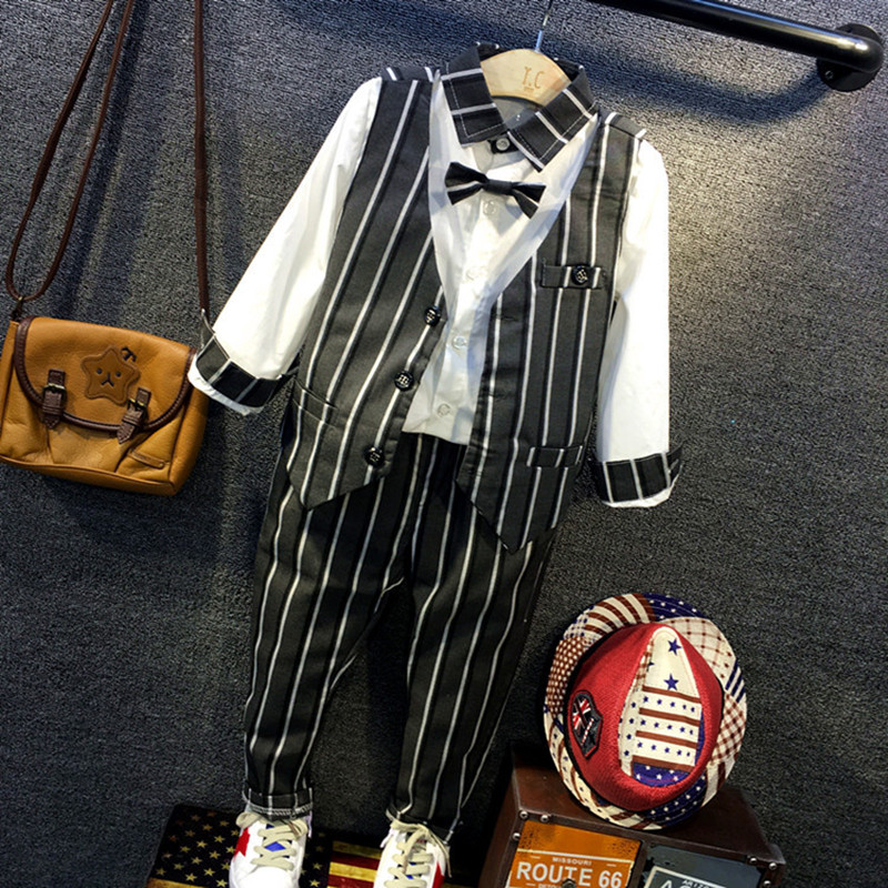 Suitable for baby boy children suit jacket boy boy clothes for children to formal wedding in stripe vest trousers and white shir<br><br>Aliexpress
