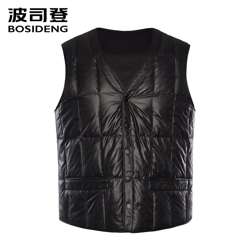 BOSIDENG 2018 new down vest for men down waistcoat snap fastener pockets high quality Rectangle plus size B80130003