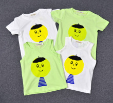 2016 summer  bobo choses Baby tops cotton t-shirt and vest  Big head clown pattern kid boy girl clothes discount