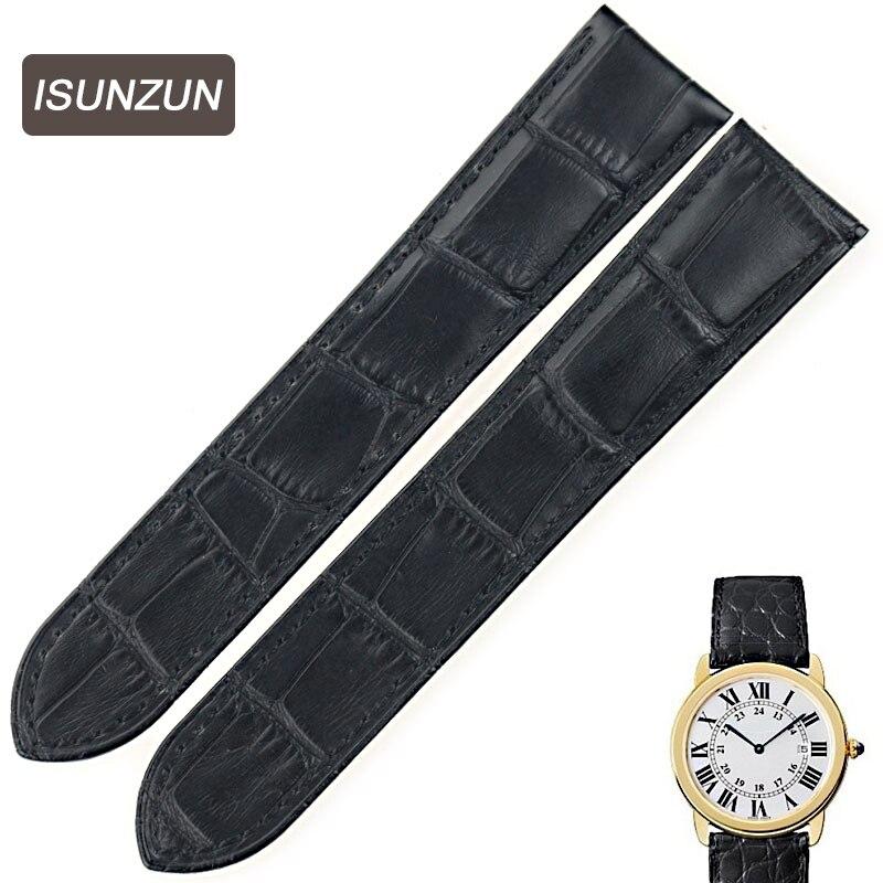 ISUNZUN Watch Band For Cartier Tank Solo W6700255 Genuine Leather Watch Strap 16 17 20 23 mm Bracelet For Men/Women Watchbands<br>
