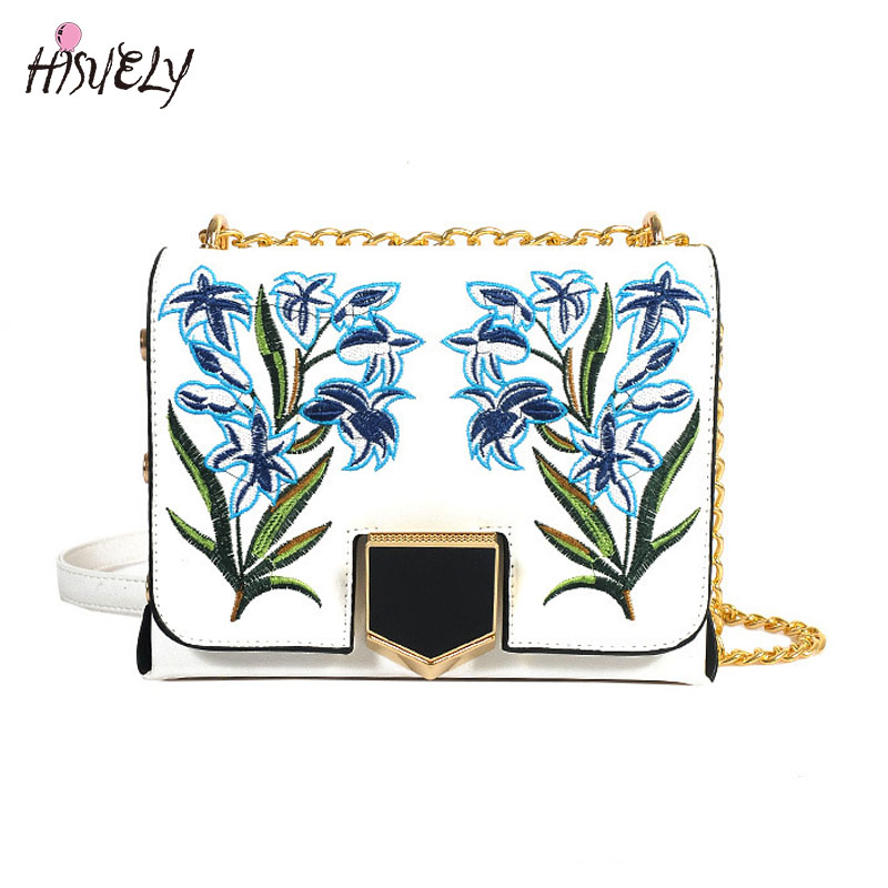 Fashion Women Leather Messenger Bag Flower Embroidery Handbag Ladies Small Crossbody Bags Women Designers Shoulder Bags Girls <br>