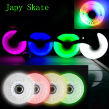 Japy Skate Flash Roller Wheels LED Light Sliding Skate Wheels 90A 72 76 80 8 pieces / lot Slalom Braking Wheels SEBA Skating
