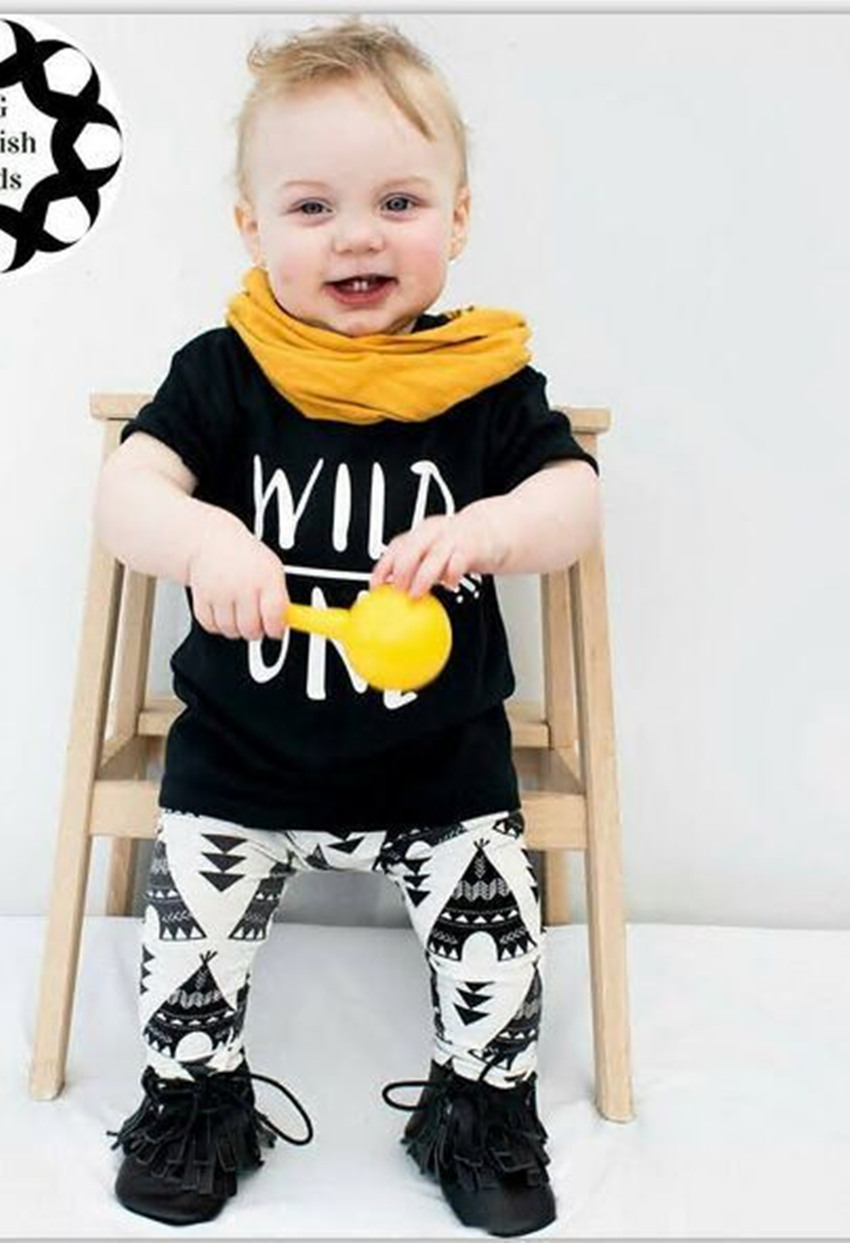 New baby boys girls summer clothes sets WILD ONE children T-shirt +Trousers 2pcs/set infant unisex sweet clothing suits