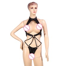 sexy PU leather lingerie set open bra exposed breast underwear three point temptation bikini set sexy teddies costume(China)