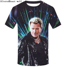 T-Shirt Rock Johnny Hallyday Men Funny Casual Short-Sleeve Plus-Size for Tee Men's