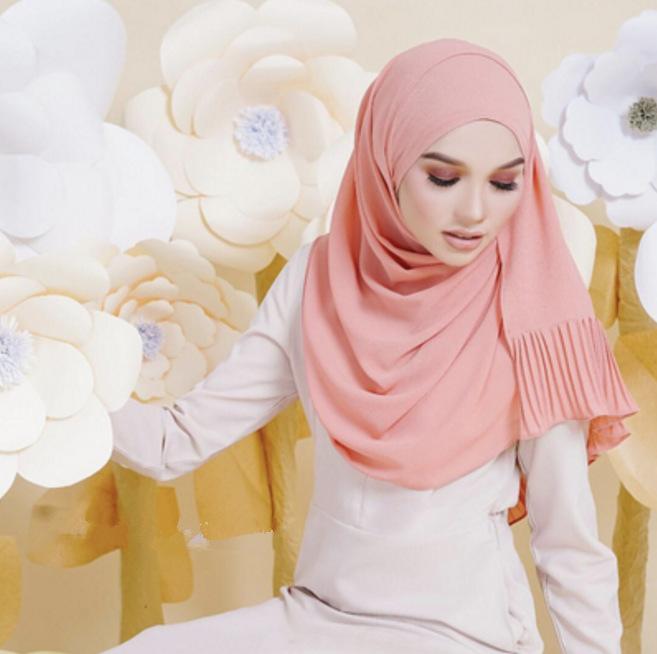 Muslim women chiffon Patchwork headscarf high quality head coverings drape stitching hijab Islam girl's cap big size 13