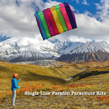 75*135cm Power Single Line Parafoil Parachute Kite Sports Beach Kite 30m Flying String Multi-color Kite with Firm Control Handle