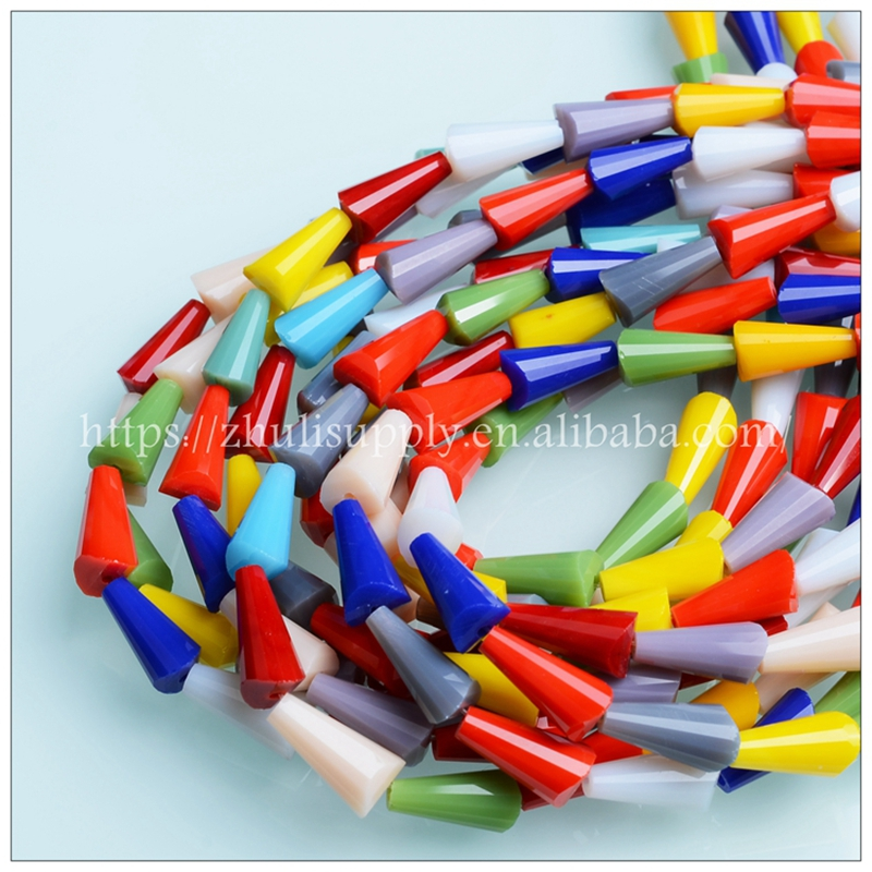 JuleeCrystal Mixed Color Glass Tower Beads 3/4/6mm Wholesale Faceted Princess Shape Beads for Jewelry Making