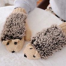 Cute Cartoon Hedgehog Gloves for Women Winter Knit Warm Crochet Wrist Fleece Heated Fitness Fingers Mittens Gloves Erinaceus(China)