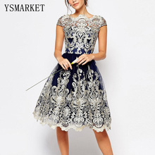 Buy 2017 Sexy Full Mesh Silver Lace Embroidery Party Dress Women Vintage Blue Ball Gown Boat Neck Hollow Midi Dresses ef1010 for $20.48 in AliExpress store