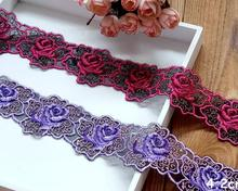 2 Meters Free Shipping Embroidered Net Home DIY Lace Applique Ribbon Sewing Craft 4.2cm Purple Roseo Lace Trim