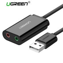 Ugreen Sound Card External 3.5mm USB Adapter USB to Microphone Speaker Audio Interface for PS4 Pro Computer USB Sound Card(China)