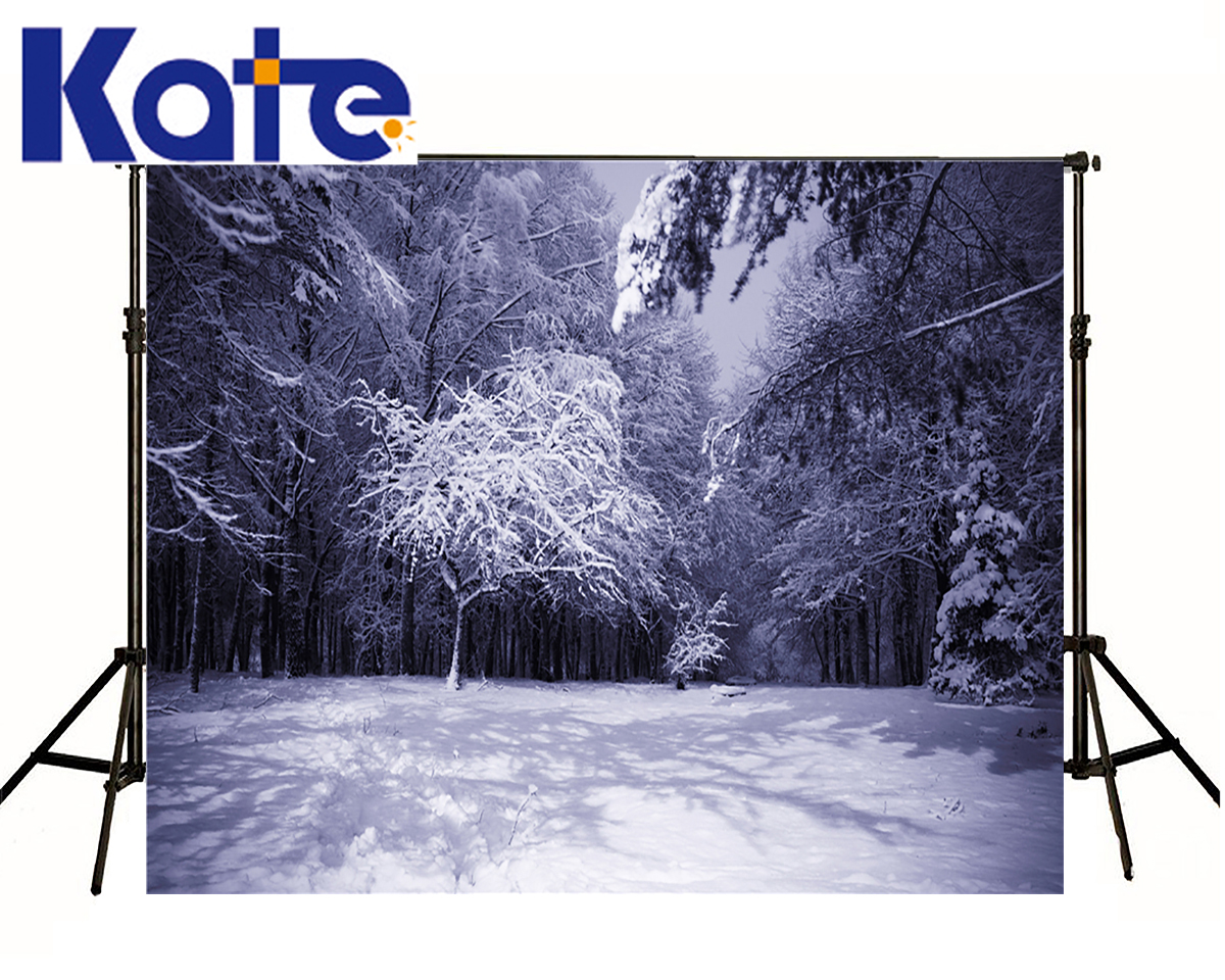 KATE Winter Background Light Purple Style Christmas Backdrop Photography Scenery Snow Forest World Background For Photo Studio<br>