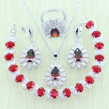 Reginababy Women Silver color Red created Garnet Jewelry Sets Crystal Earrings/Bracelets/Necklace/Ring/Pendant Gift A9