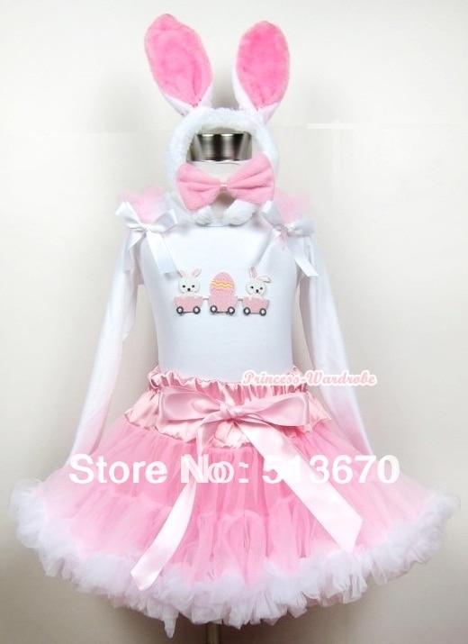Lght Pink White Pettiskirt &amp; Easter EGG White Long Sleeve &amp; Rabbit ear set MAMW201<br>