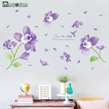 MARUOXUAN Dream Butterfly Orchid Plant Sticker Living Room Sofa Bedroom Corridor Background Decoration Murals PVC Wall Stickers