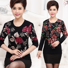NIFULLAN Spring Fall Winter Women Sweaters And Pullovers Plus Size Mother Knitted Bottom Tops Flower Long Sleeve Slim Jumper