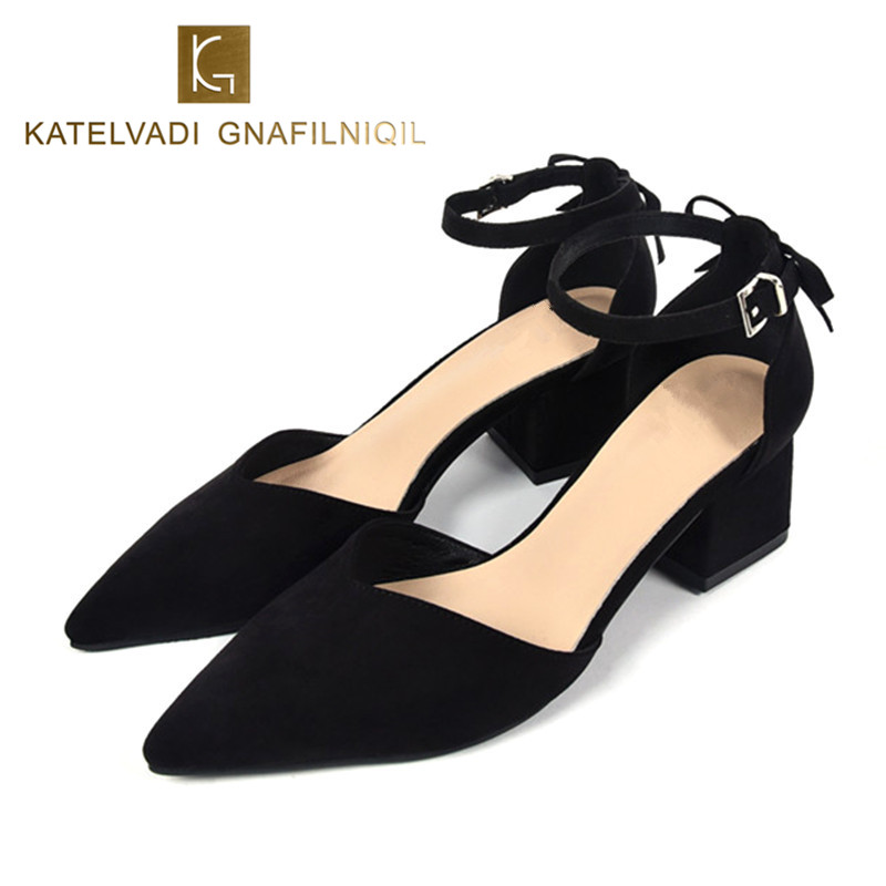 Fashion Women Pumps Black Summer Shoes Woman Lower Heels Pointed Toe Ladies Shoes Heels Women Shoes Pumps Office Shoes K-018<br>