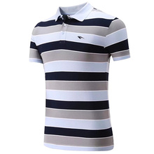 New High Quality Cotton Men Sports Polo Shirt Golf Shirt Clothing Stripes T Shirt Turn-down Collar Breathable Sportswear Clothes