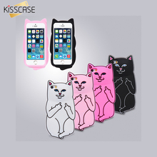 KISSCASE 3D Cute Ripndipp Pocket Cat Case For iPhone 6 6S 6 6s Plus 5 5S SE Cartoon Soft Silicon Middle Finger Cat Back Cover