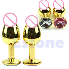 Buy Small Size Metal Mini Anal Toys Butt Plug Booty Beads Alloy Chromed+Crystal Jewelry Sex Toys Adult Sex Products woman/Couple